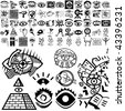 Eyes set of black sketch. Part 101-1. Isolated groups and layers. - stock photo