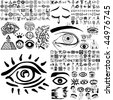 Eyes set of black sketch. Part 200. Isolated groups and layers. - stock vector