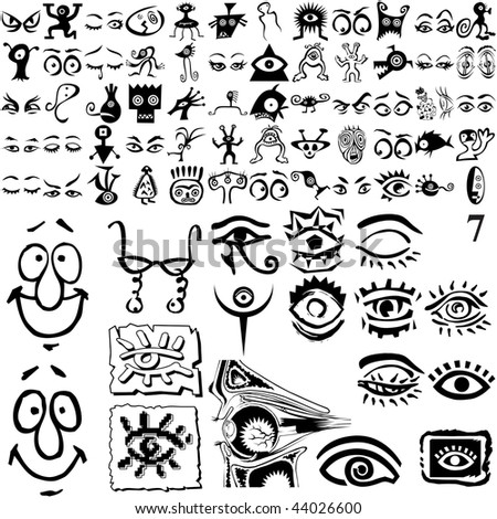 Eyes set of black sketch. Part 102-7. Isolated groups and layers. - stock vector