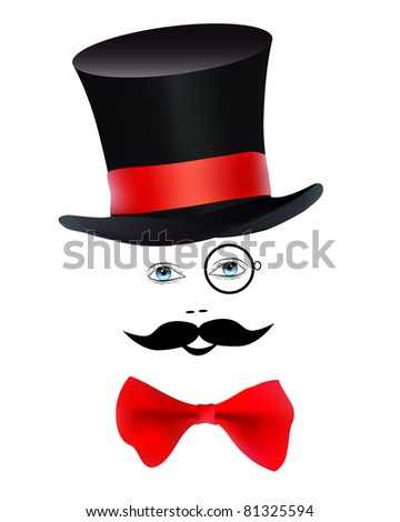 eyes with a monocle and mustache butterfly hat magician on a white background - stock vector
