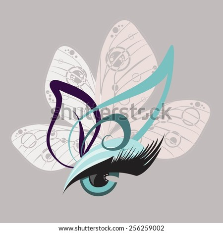 eyes with butterfly lashes - stock vector