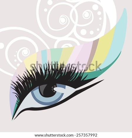 eyes with creative make up and butterfly lashes - stock vector