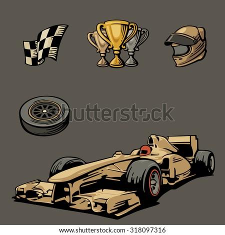 F1 Car sport set symbols vector vintage illustration handmade. - stock vector