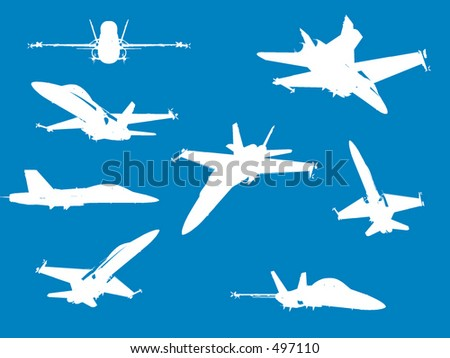 F18 Fighter Aircraft in vector format - stock vector