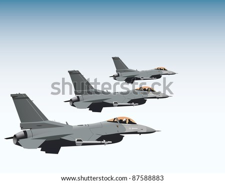 F-16 fighter jets flying in formation vector image - stock vector