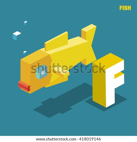 F for fish, Animal Alphabet collection. vector illustration - stock vector