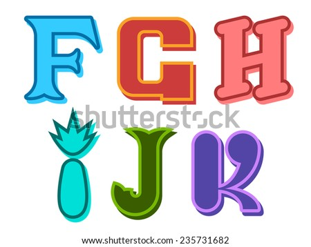 F, G, H, I, J, K funky cute alphabet letters in different colors with different shapes for kids, education, decorative text and scrapbooking, design element - stock vector
