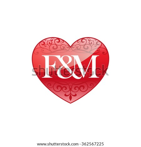 FM Initial Letter Couple Logo With Ornament Heart Shape