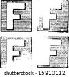 F part of a complete alphabet of vintage rubber stamp letters - stock vector