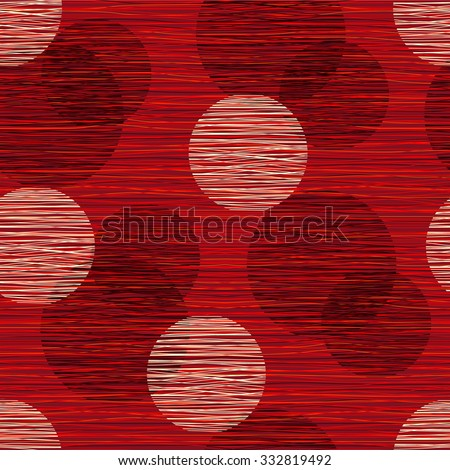 Fabric material burlap textured fibers with a pattern of circles. Seamless pattern of polka dots, seamless background. Red background - stock vector