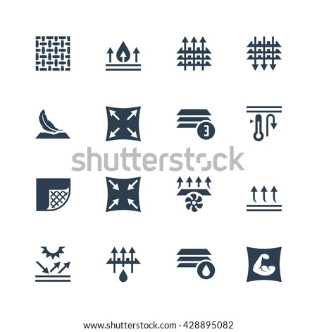 Fabric technology and properties vector icon set - stock vector