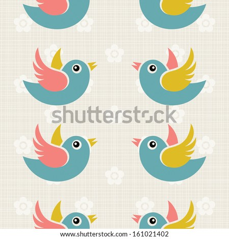 Fabric texture background with cute birds