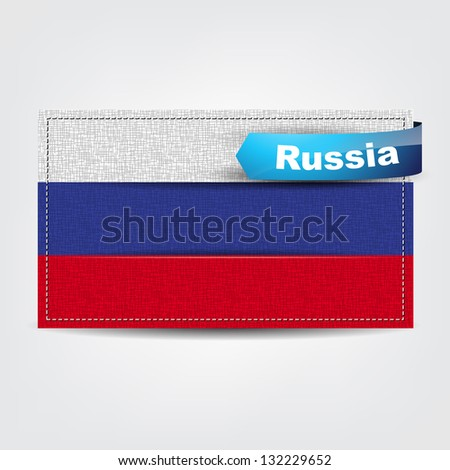Fabric texture of the flag of Russia with a blue bow. (Vector eps10)