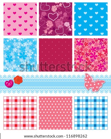 fabric textures in pink and blue colors - seamless patterns - stock vector