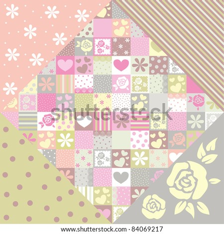 fabric with roses and hearts
