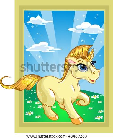 fabulous unicorn on the fairytale lands?ape - stock vector