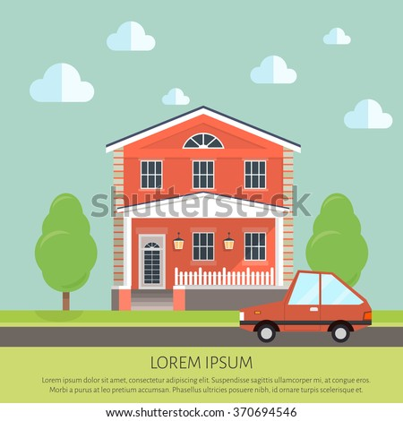 facade apartment house, cottage. flat style background of trees, car - stock vector