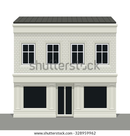 Facade building. Front of house. Vector detailed illustration. Isolated on white background. - stock vector