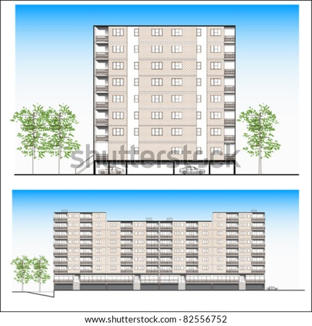 facade. Habitation building - vector - stock vector