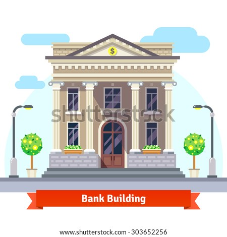 Facade of a bank building with columns. Flat style vector illustration isolated on white background. - stock vector