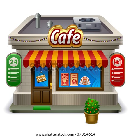 Facade of a coffee shop store or cafe - stock vector