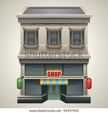 Facade of a shop store or cafe - stock vector