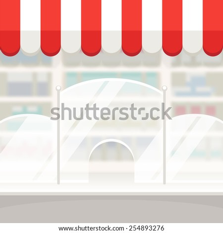 Facade of a Shop Store or Pharmacy Background - stock vector