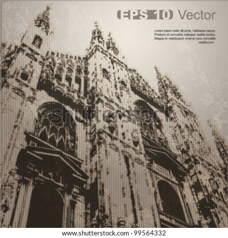 Facade of Milan Cathedral (Duomo di Milano), Lombardy, Italy. Ancient architecture. Vector clip-art, isolated on neutral background. More in my portfolio