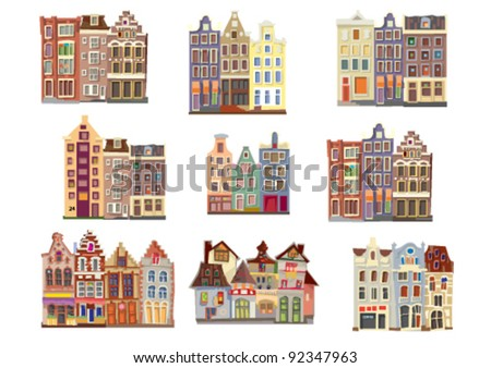 facades of old houses - stock vector