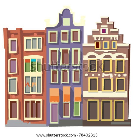 facades of old houses - Amsterdam - stock vector