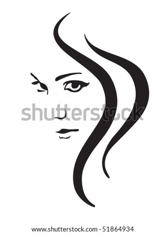 Face and hair - stock vector