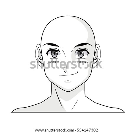 Face Boy Anime Manga Comic Bald Outline