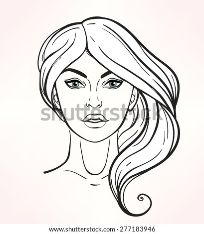 Face chart Makeup Artist Blank. Elegant Template. Stylish linear vector Isolated illustration.Beauty spa and massage. Skin, eyes, lips. Fashion show and photo shoot template.