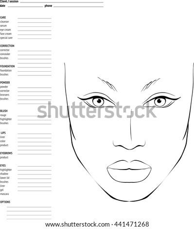 Face chart makeup artist blank template stock vector 441471268 face chart makeup artist blank template schema of face for makeup artists maxwellsz