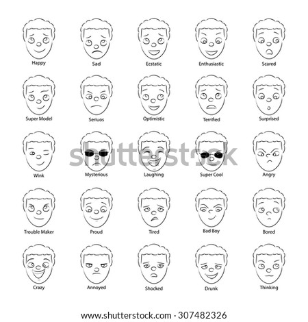 face emotions set - stock vector