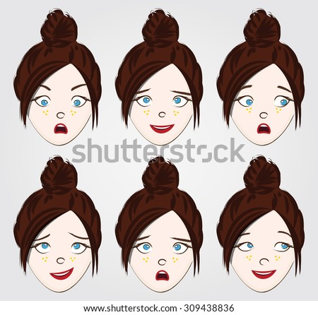 Face expressions set for a girl with bun hair - stock vector
