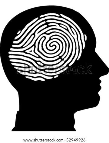 Face Fingerprint - stock vector