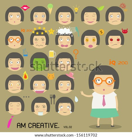 Face Girl - stock vector