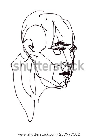 Face. Hand drawn. Vector illustration. - stock vector