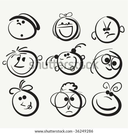 Face icon, happy people cartoon sketch   - stock vector