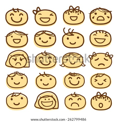 Face Kids Draw Emotion Feeling Icon Cute Cartoon Vector Design