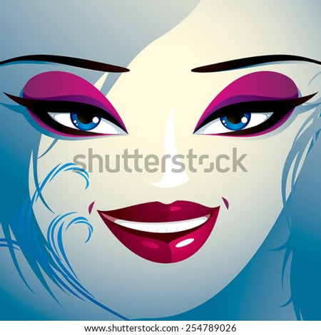 Face makeup. Lips, eyes and eyebrows of an attractive woman displaying happiness. Fashionable female haircut. - stock vector