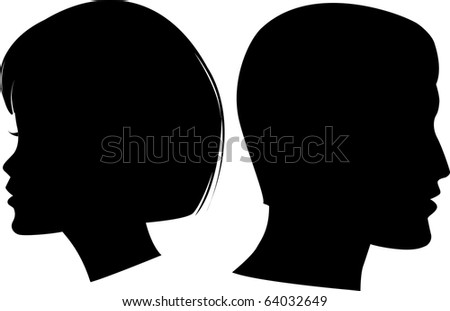 face man and woman - stock vector