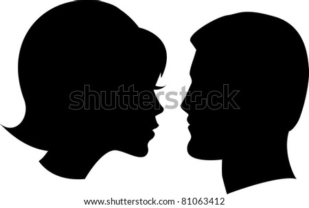 face man and woman on white background - stock vector