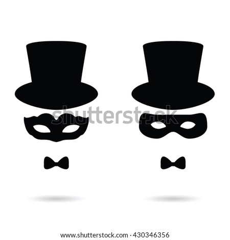 face man with mask illustration in black color - stock vector