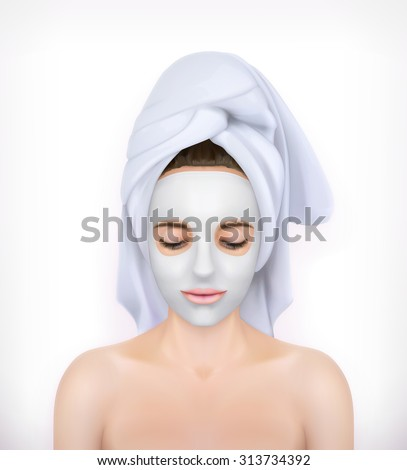 Face mask, young woman vector illustration - stock vector