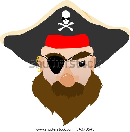 Face of a mean Pirate Vector Cartoon - stock vector