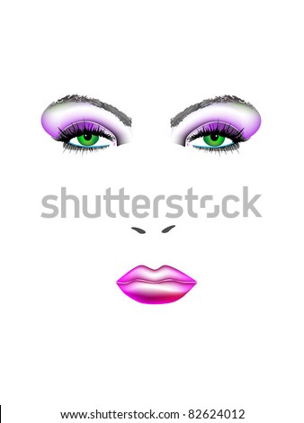 Face of beautiful girl - stock vector