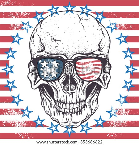 Face of skull with sunglasses on the abstract USA flag.Vector illustration - stock vector