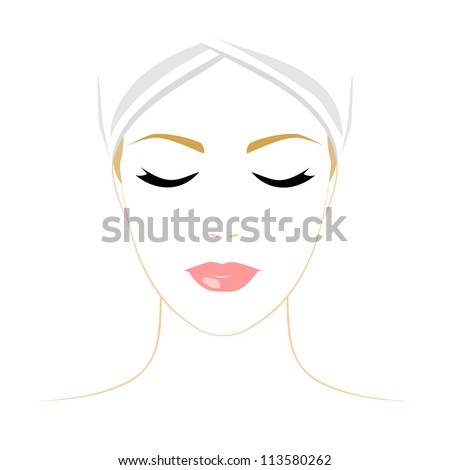 Face of woman with closed eyes on white background. Color illustration. Vector version. - stock vector
